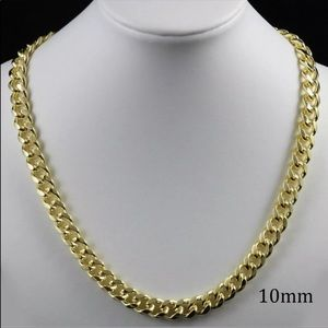 Cuban bling 10mm gold chain men's gothic r…